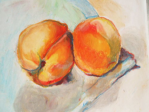 peaches oil pastel