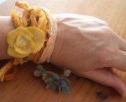 AJB porcelain wrist corsage, yellow on wrist