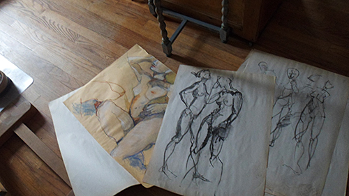 drawings-on-floor